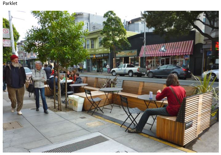 People sitting in a Parklet