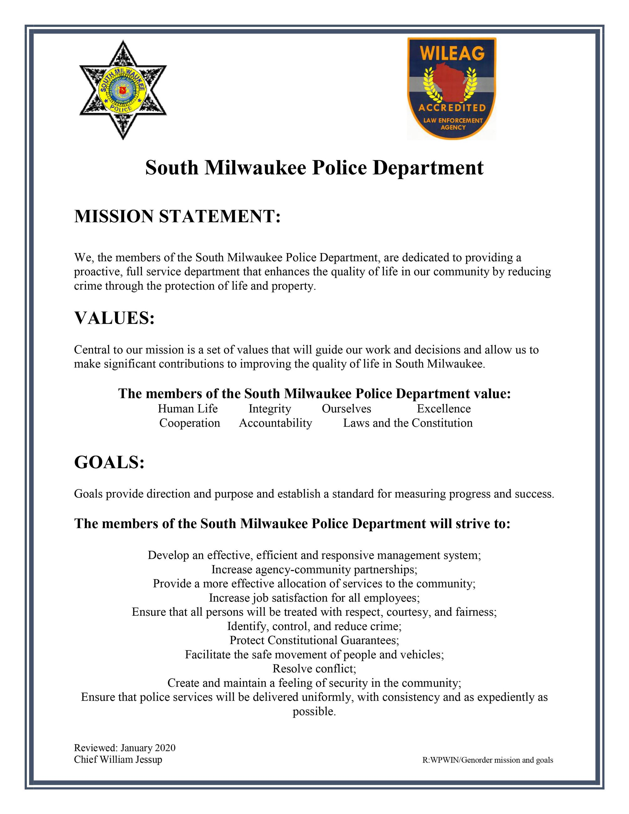 South Milwaukee Police Department's Mission and Goals 2020