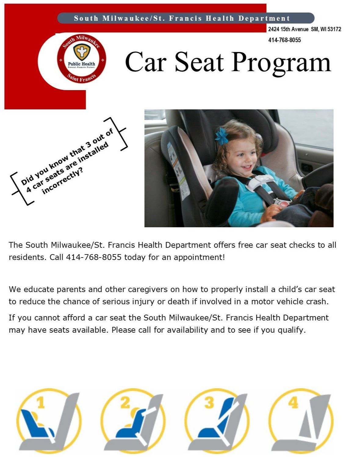 Car Seat Program flyer - SMSF 1.13.2020